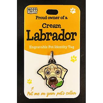 Wags & Whiskers Pet Identity Tag - Cream Labrador