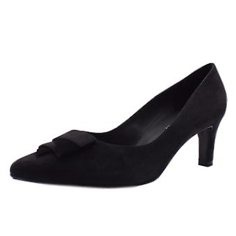 Peter Kaiser Ulrike Mid Heel Pointed Toe Court Shoes In Carbon Suede