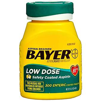 Bayer low dose aspirin, 81 mg, enteric coated tablets, 300 ea