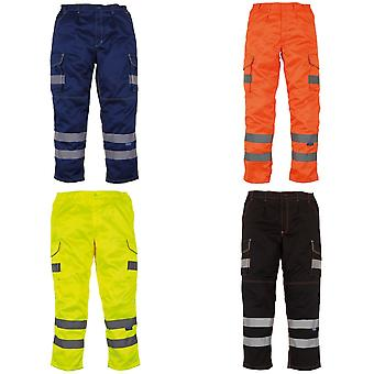 Yoko Mens Hi Vis Polycotton Cargo Trousers With Knee Pad Pockets (Pack of 2)