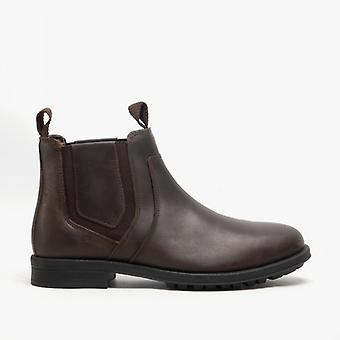 Roamers Richie Mens Couro Chelsea Botas Dark Brown