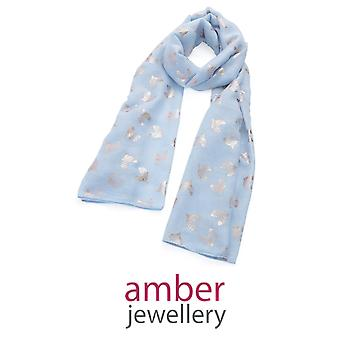 Amber Jewellery  Light Blue & Gold Heart Motif Scarf (SC33055)
