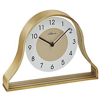 Atlanta 3125 Style Clock Table Clock Quartz Metal Frame Golden with Glass