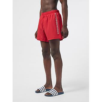 EA7 Emporio Armani Side Logo Swim Shorts - Red