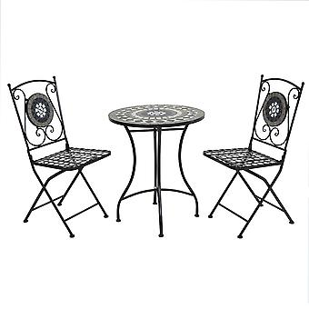 Charles Bentley Round Wrought Iron Mosaic Bistro Set for Two Garden & Outdoor Dining Antique Look - Black and Grey