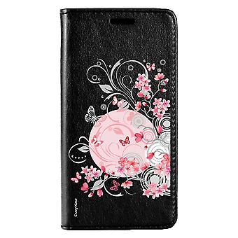 Caso para Huawei P20 Lite negro patrón flores y mariposas