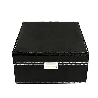 Jewellery box, suede-Black, 20 x 20 cm