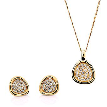 Orphelia Silver 925 Pendant and chain 45cm -Earring Gold Color Pavee with Zirconium