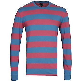 Edwin Beely Lange Mouw Blauw en Rood T-shirt