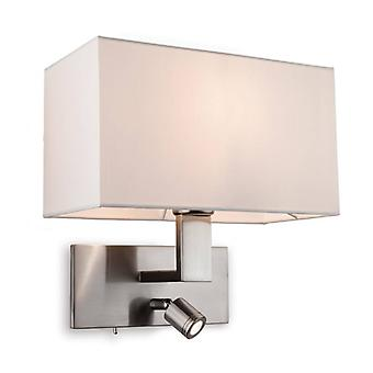 Raffles Wall Lamp With Reading Light, Brushed Steel