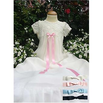 Lace And Chiffon Christening Gown From  Grace Of Sweden - Free Choice Of Color On Bow