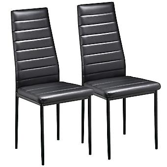 Pair of Black Modern Faux Leather Parson Dining Chairs Set of 2