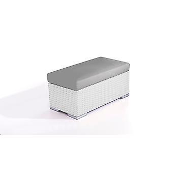 Polyrattan Cube széklet 45 cm - fehér szatén