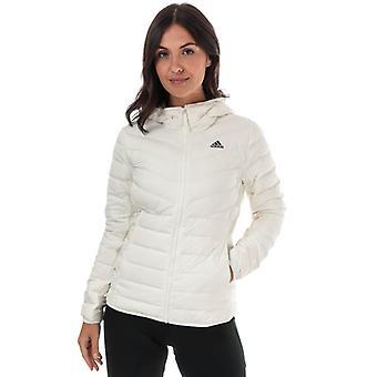 Damen's adidas Varilite 3-Streifen Kapuzen-Daunenjacke in Weiß