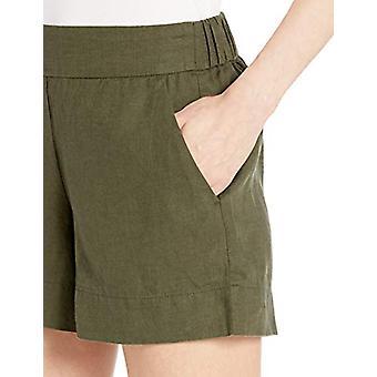 Brand - Daily Ritual Women's Linen Pull-On Short, Olive, 16