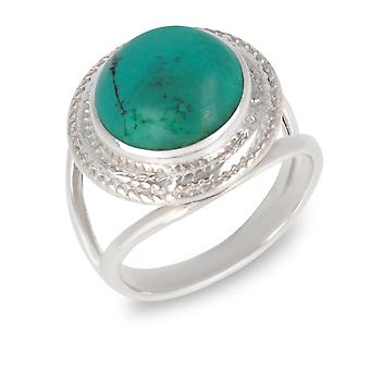 ADEN 925 Sterling Silver Turquoise Round Shape Ring (id 3656)