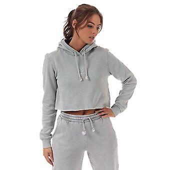 Women's Pink Soda Sport Wash Crop Hoody in Grey