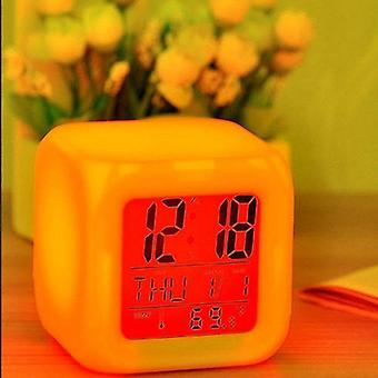 Cube Led 7 Colors Changing Digital Desk Alarm Clock - Thermometer Night Glowing Watch For Home Decor