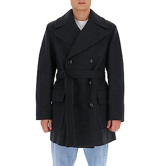 Dries Van Noten 202141197901 Men's Grey Wool Coat