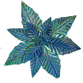27cm Blue-Green Clip-On Poinsettia Christmas Decoration