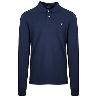 GANT Navy Classic Langarm Polo Shirt