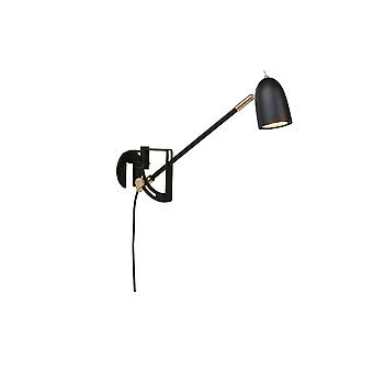 1 luz interior lámpara de pared negro estructura