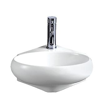 Isabella Collection Oval Corner Wall Mount Basin With Center Drain - Blanc