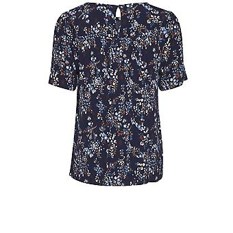 b.young Jill Blue Floral Blouse