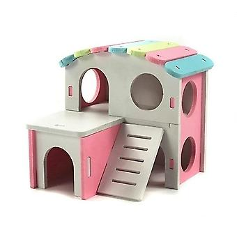 Pet House Viewing Deck Ladder, Hamster House Nest With Wooden Seesaw