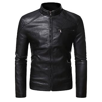 Allthemen Men's Thick Leather Jacket Cool Pattern Embossed Solid Zipper Winter