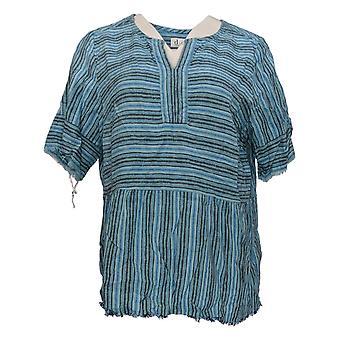 Denim & Co. Women's Top Striped Pullover Blue A365274