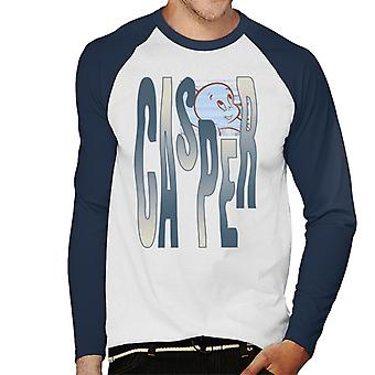 Casper The Friendly Ghost Spooky Waves Men''s Baseball Long Sleeved T-Shirt