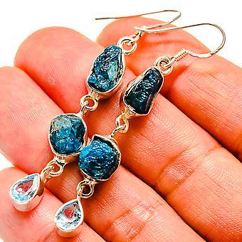 """Blue Fluorite, Blue Topaz Earrings 2 3/8"""" (925 Sterling Silver)  - Handmade Boho Vintage Jewelry EARR408026"""