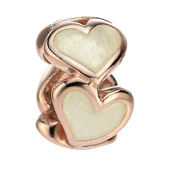 Elemente Silber Sterling Silber Rose Gold Emaille Herz Perle