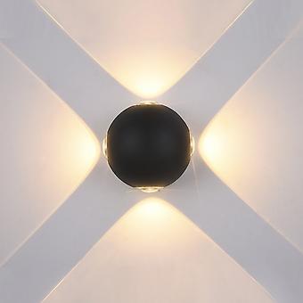 Italux Trivento - Moderna lâmpada de parede ao ar livre LED Preto, Branco Quente 3000K 280lm, IP44