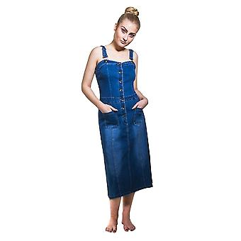 Button front fitted denim dress with adjustable straps - size 8 only