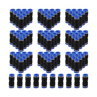 100 x Black 10mm Air Pneumatic Connector Straight Union Quick Connector Jointer