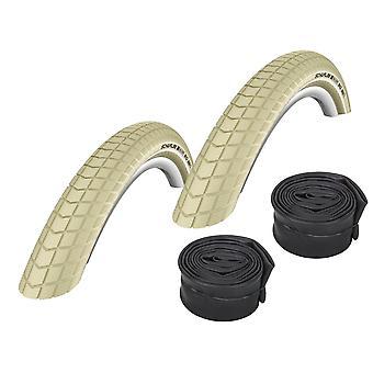 "Velo.Set 2 x Schwalbe Big Ben Tires = 55-559 (26×2.15"") Cream + Hoses"