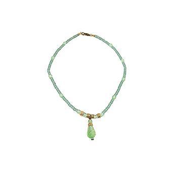 Collana Perline di vetro Verde chiaro 42cm