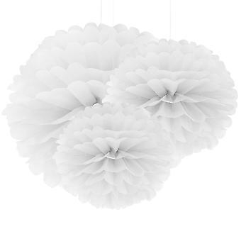 30 Witboek Pompom | Voor decoratie Wedding Garden Apartment Celebration Party Verjaardag | Diameters: 20cm/ 25cm / 36cm