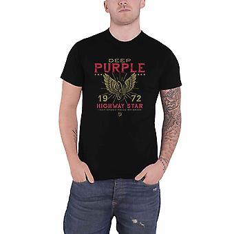 Deep Purple T Shirt Highway Star 1972 Band Logo new Official Mens Black
