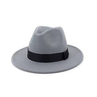 Vintage Fedora Men Wool Wide Brim Top Hat / Chapeau Black Church Hat And Bowler