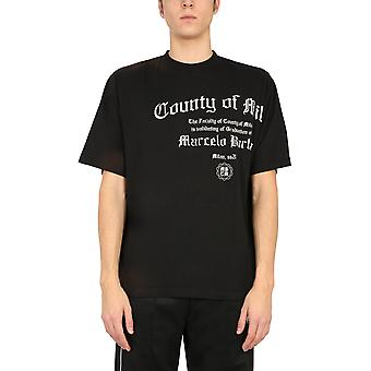 Marcelo Burlon Cmaa054r21jer0051001 Men's Black Cotton T-shirt
