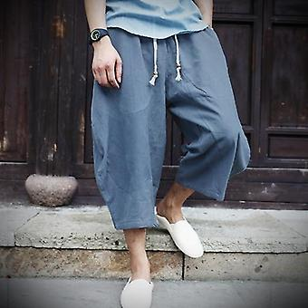 Men Cotton Linen Baggy Wide Leg Pants, Hanging Crotch Hip Hop Bloomers