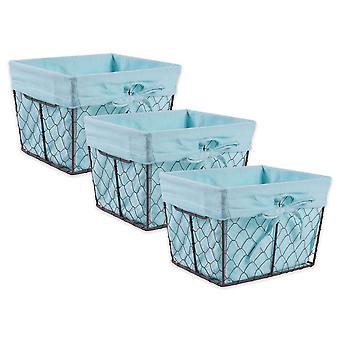 Dii Chicken Wire Small Basket (Set Of 3) Aqua