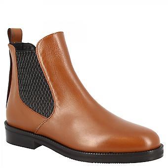 Leonardo Shoes Women's main round orteil bas bottines élastiques en cuir napa beige