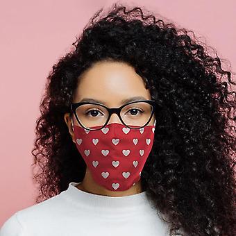 Vermelho com corações brancos reutilizável cobertura facial - grande