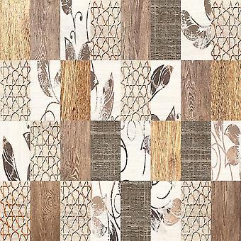 Tapis imprimé multicolore Brown Patchwork en polyester, coton, L80xP150 cm