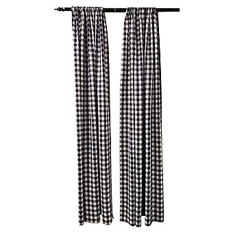 La Linen Pack 2  Polyester Gingham Checkered Backdrop, 58 By 96-Inch,Navy/White