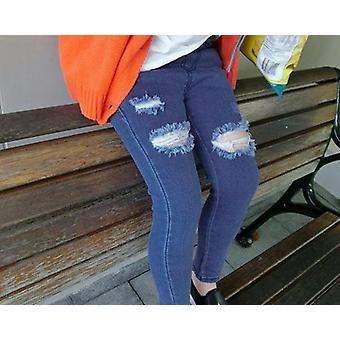 Girls Cotton Skinny Jeans Hole Trousers Pencil Pants